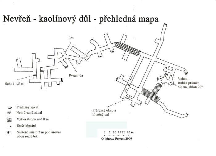 mapa kaolinového dolu v Nevřeni